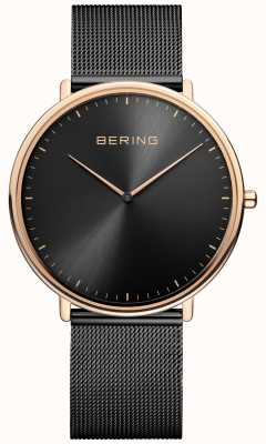 Bering 经典男女皆宜的黑色和玫瑰金手表 15739-166