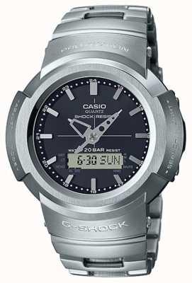 Casio G-shock |全金属手链|黑色表盘|无线电控制 AWM-500D-1AER