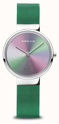 Bering 周年纪念|女式|抛光银|绿色网眼手链 10X31-ANNIVERSARY1