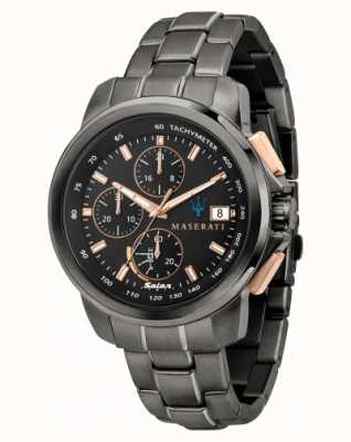 Maserati Successo Solar男士黑色和玫瑰金手表 R8873645001