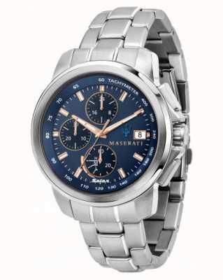 Maserati Successo太阳能男士蓝色表盘手表 R8873645004