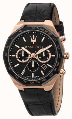 Maserati Stile 计时码表男士黑色皮革表带 R8871642001