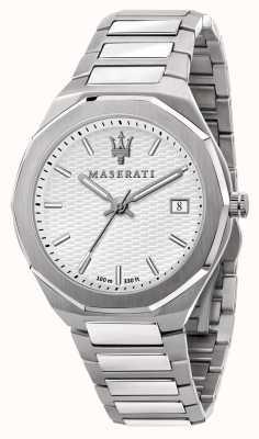 Maserati 男士 stile 3h 数据白色表盘手表 R8853142005