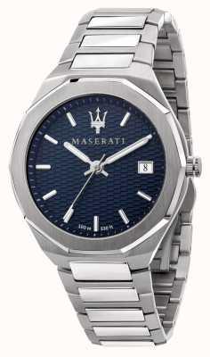 Maserati 男士 stile 3h 数据蓝色表盘手表 R8853142006