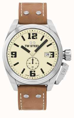 TW Steel 男士食堂棕色皮表带 TW1000
