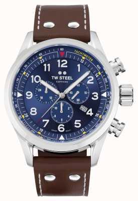 TW Steel Swiss volante 棕色皮表带 蓝色表盘 SVS201