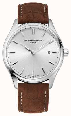 Frederique Constant 经典石英|棕色皮表带|银色表盘 FC-220SS5B6