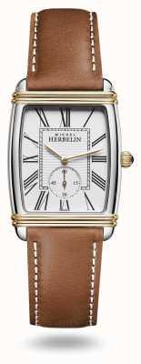 Michel Herbelin 女士装饰艺术手表棕色皮表带 10638/T08GO