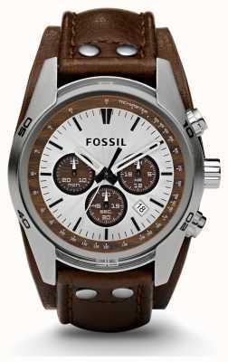 Fossil 男士运动计时码表棕色真皮表带手表 CH2565