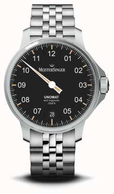 MeisterSinger Unomat 黑色太阳纹表盘不锈钢表链 UN902