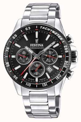 Festina 计时码表黑色表盘不锈钢腕表 F20560/6