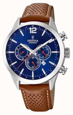 Festina 计时码表蓝色表盘棕色皮表带 F20542/3