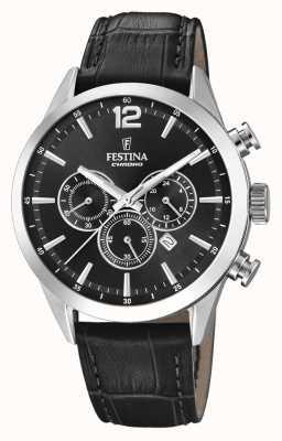 Festina 计时码表黑色皮表带 F20542/5