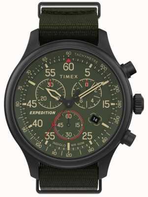 Timex 男士探险野外计时码表绿色表盘腕表 TW2T72800